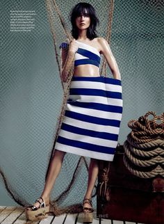 """""""NEW WAVE"""" Janice Alida gets in the seafaring spirit with bold stripes, sexy silhouettes and luxe navys. There has never been a better time to rock the boat. Styled by Juliana Schiavinatto Photographs by Owen Bruce Art direction by Denis Desro. Fashion Models, Fashion Beauty, Fashion Outfits, Top Fashion Magazines, Nautical Fashion, Pullover, Fashion Studio, Rock, Striped Dress"""