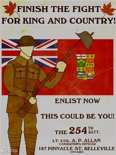 Canadian recruiting poster, very well done. Ww1 Posters, Ww2 Propaganda Posters, Patriotic Pictures, Canadian History, King And Country, World War One, Vintage Advertisements, Retro Advertising, Military History