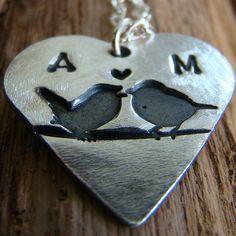 personalised silver love birds heart necklace by jojojewellery | notonthehighstreet.com