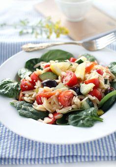 Mediterranean Orzo Spinach Salad | The Flourishing Foodie