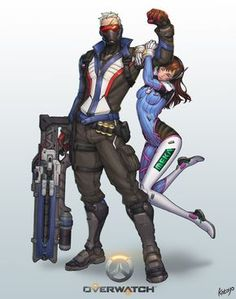 Soldier 76 and D. Va, Overwatch artwork by Overwatch Comic, Overwatch Fan Art, Overwatch Memes, Anime Sexy, Video Game Art, Video Games, King's Quest, Jack Morrison, Overwatch Wallpapers