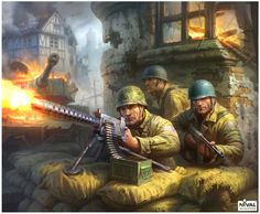 In Blitzkrieg, you can control a variety of troops from infantry to air strikes. Real Time Strategy, Strategy Games, Army Drawing, Troops, Ww2, Drawings, Illustration, Painting, Painting Art