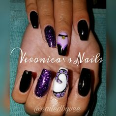 @nailedbyvee purple black glitter Ursula Disney Little Mermaid sea witch nails tapered Square coffin ballerina nail design art