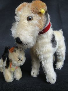 Antique Fantastique Steiff Dog Fox Terrier 1937 Father Son w Button Flag | eBay