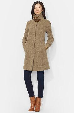 Lauren Ralph Lauren Buckle Tab Collar Wool Blend Coat (Online Only) | Nordstrom