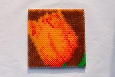 hama perler beads - A Tulip by: Nina V. Kristensen