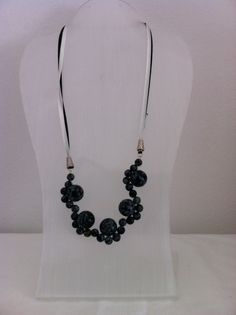Black obsidian round beads make up this lovely necklace
