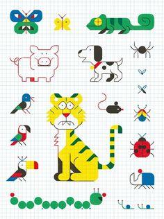 Graph Paper Drawings, Graph Paper Art, Art Drawings, Drawing For Kids, Art For Kids, Blackwork, Pixel Art, Math Art, Graphic Illustration