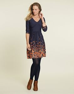 Lizzie Dress in Navy Print by Pepperberry