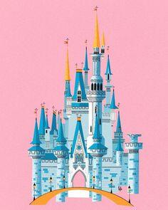 Magic Kingdom - Cinderella's Castle Inspired Print by Hayden Evans Disney World Castle, Disney Cinderella Castle, Disneyland Castle, Walt Disney World, Disney Castles, Ice Castles, The Aristocats, The Jungle Book, Castle Illustration
