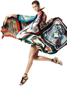 This shot is a bit too balletic for me- but I like the movement of the silk.  Karlie Kloss in Harpers Bazaar Spain 2013 - Hermes Scarf 7d7ea5fb7cc