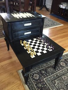 Refurbished Vintage End Table To Chess U0026 Backgammon Table