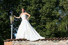 Janne kleidil on pitsist korsetiosa, rohket kangast nõudnud seelikuosal on pitsääris.