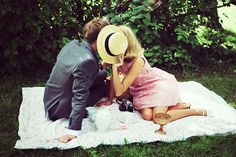 Picnic spring in love couple relationship