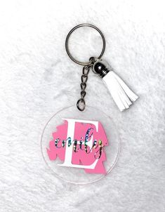 Custom Name Acrylic Keychain With Paint Stroke and Butterfly Charm