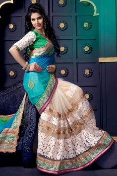 Designer Sari Collection like Blue Cream Georgette Net Saree with Green Blouse presented by Andaaz Fashion with price RM485.00. Embellished with Embroidered, Resham, Stone, Zari, Embroidered Pallu, U Neck Blouse, Short Sleeve. This is perfect for Party, Wedding, Festival, Casual, Ceremonial    http://www.andaazfashion.com.my/womens/sarees/newarrival