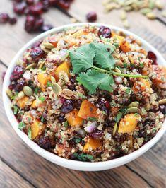 Butternut squash cranberry salad is the BEST fall salad! Made with butternut squash, cranberries, quinoa, pumpkin seeds and Balsamic Vinaigrette. Winter Salad Recipes, Healthy Thanksgiving Recipes, Fall Dinner Recipes, Quinoa Salad Recipes, Vegetarian Recipes, Healthy Recipes, Fall Recipes, Quinoa Recipe, Dinner Ideas