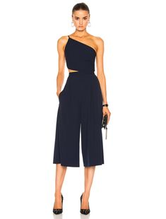 Michelle Mason Asymmetrical Bandeau Jumpsuit in Prussian Blue | FWRD