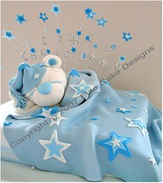 Sleeping Teddy Baby Shower Cake   Also posted under Baby: Showers, Gifts, Etc as a possible Diaper cake idea  ; )