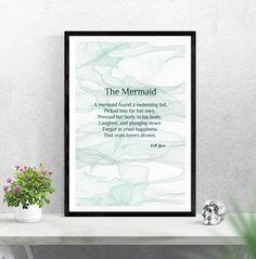 The Mermaid Poem By W.B. Yeats, Instant Download, Wall Art, Print by PinkPebblePrints on Etsy Mermaid Poems, Family Tree Print, Personalised Prints, Marble Effect, Online Print Shop, Online Printing, Abstract Art, Printable, Art Prints
