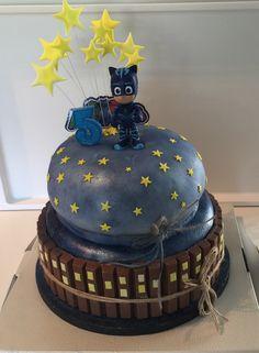 PJ Masks Birthday Cake by AnnaMaria Hadjisymeou Pj Masks Birthday Cake, 4th Birthday Cakes, 6th Birthday Parties, Boy Birthday, Pj Mask Cupcakes, Cupcake Cakes, Mask Party, Cakes For Boys, Party Time
