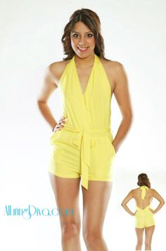 Rhianna Yellow Backless Romper