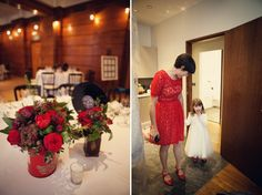 Red flowers and a bridesmaid in red. Photography by assassynation.co.uk