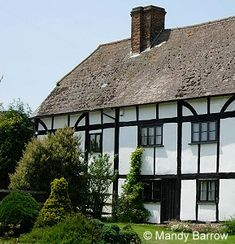 How can you recognise a Tudor House?  Most ordinary homes in Tudor times were half timbered - they had wooden frames and the spaces between were filled with small sticks and wet clay called wattle and daub.  Tudor houses are known for their 'black-and-white' effect.