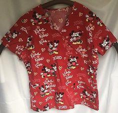 Mickey Minnie Mouse Scrub Top Red SZ L V Neck Uniform 3 Pocket Disney Valentines