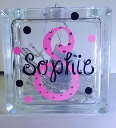 Personalized LED lighted glass block name by DreamsicleKreations