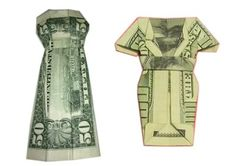 Free step by step instructions for how to fold a money origami dress out of a dollar bill or other bill. Its quick and easy to learn and makes a great way to give a cash gift or leave a memorable tip