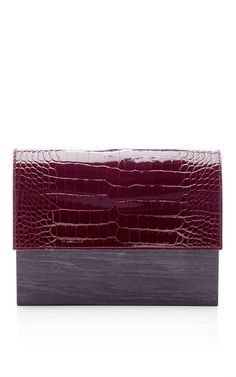 Patent Burgundy Alligator and Swamp Oak Clutch by Hugo Matha Now Available on Moda Operandi