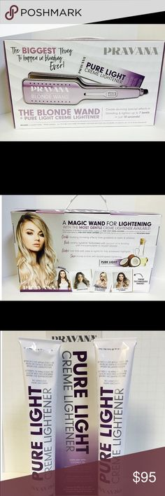 Pravana blonde wand Wand that helps lift color much faster than with just lightener alone. The one I am selling will come with 5 cream lightener bottles, guide, DVD, and wand pravana Other Hair Products, Pure Products, How To Lighten Hair, Wands, It Works, Bottles, Tools, Cream, Hair Colors