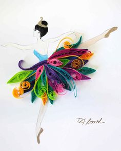 Quilled Paper Evokes the Graceful Movement of These Tiny Dancers Deb Booth quilled paper tiny dancer Paper Quilling Tutorial, Quilled Paper Art, Paper Quilling Designs, Quilling Patterns, Arte Quilling, Quilling Paper Craft, Paper Crafts, Handmade Crafts, Diy And Crafts