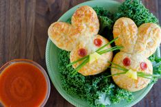 Crescent Bunny Pizza Dunkers - made with Pillsbury refrigerated crescent dough