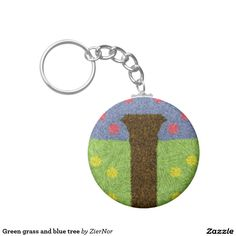 Green grass and blue tree basic round button keychain Round Button, Green Grass, Buttons, Personalized Items, Abstract, Metal, Blue, Color, Summary
