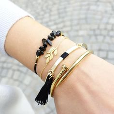 Pompom Gold/Black Bracelet - Majolie - 1