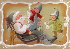 Kaarina Toivanen 071 Vintage Christmas, Christmas Crafts, Elves And Fairies, Funny Drawings, Country Paintings, Christmas Scrapbook, Christmas Scenes, Christmas Illustration, Winter Cards
