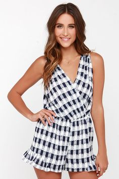 Take Your Pixel Navy Blue and Ivory Print Romper at Lulus.com!