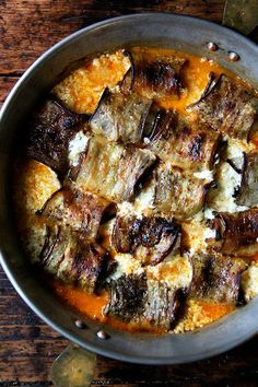 Eggplant involtini — tender slices of eggplant rolled into ricotta-stuffed…