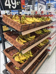 """If there is a season for Bananas, it must be now judging by this massed offering at Aisle End. Declined Open Wire Frames angle product for best presentation. Wicker Baskets help say """"Natural"""" and """"… Seafood Store, Cafe Counter, Fruit Shop, Good Presentation, Grocery Store, Bananas, Wicker Baskets, Retail, Natural"""