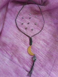 NyX micro macrame necklace long length Clear by HeCateAccessories