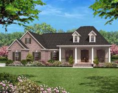 Southern Style House Plans - 1500 Square Foot Home , 1 Story, 3 Bedroom and 2 Bath, 2 Garage Stalls by Monster House Plans - Plan 50-114
