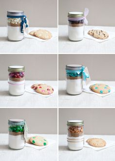 DIY ~ 12 oz. Mason Jar Cookie Mix Favor... so easy, so cute, and delicious cookies!!!  --I make these for people & they love them. Tie a pretty grosgrain ribbon, use cricut to put their initial on it, & make a cute tag & it's a perfect personalized gift.