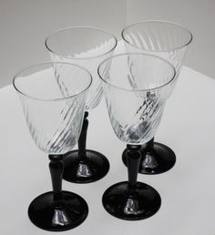 New to lingerawhile on Etsy: French Optic Swirl Onyx Wine Glasses - Set of Four (22.00 USD)