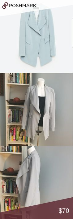 Zara Women's Flowing Crepe Blazer  ZARA blazer with shade of pale blue color. Relaxed style but adds a polished look to any outfit. ZARA Jackets & Coats Blazers