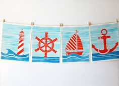 Nautical Decor - ORIGINALS - Four nautical paintings - perfect for nautical themed rooms, sailing themed rooms, or a nautical nursery by IslandofBlue on Etsy https://www.etsy.com/listing/110548149/nautical-decor-originals-four-nautical