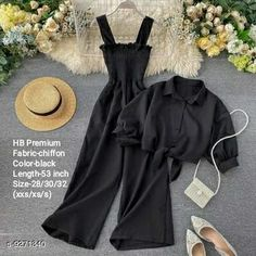 Jumpsuits HB PREMIUM Spaghetti Strap strechable Two piece Wide leg jumpsuit with stand up collar shirt with tie up pattern-Free size(28/30/32)- Black Fabric: Chiffon Sleeve Length: Long Sleeves Pattern: Solid Multipack: 2 Sizes:  Free Size (Bust Size: 30 in Length Size: 53 in Waist Size: 30 in) Country of Origin: India Sizes Available: Free Size, S   Catalog Rating: ★4 (502)  Catalog Name: Classy Fashionista Women Jumpsuits CatalogID_1616443 C79-SC1030 Code: 098-9271340-9941