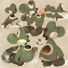Yoshi ^ ^ by - Koki (Kokikun) Mundo Super Mario, Super Mario Art, Mario And Luigi, Mario Bros, Mario Brothers, Gamers Anime, Video Game Art, Video Games, Creature Design