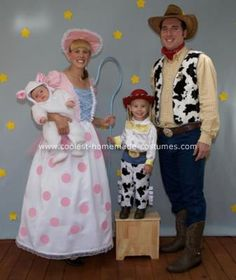 Homemade Toy Story Family Costume: My daughter, Kylinn, loves Toy Story and wanted to be Jessie for Halloween. She wanted my husband to be Woody, so I decided to be his girlfriend BoPeep.